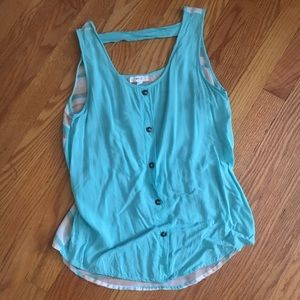 MINE Small Aqua Blue & Striped Back Tank Top